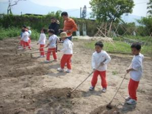 小農夫用鋤頭學習翻土